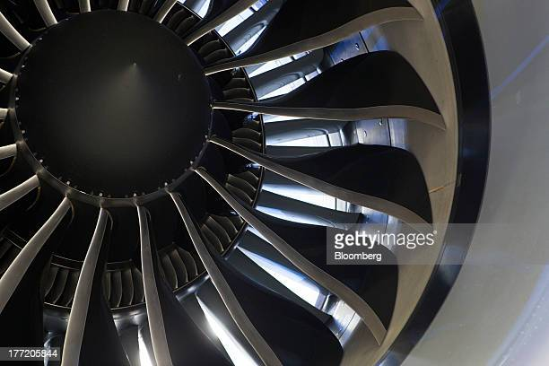 A General Electric Co GEnx1B turbofan engine is seen on a Boeing Co Dreamliner 7878 jet during an event to mark its delivery to Grupo Aeromexico SAB...