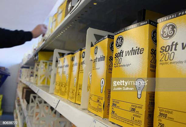 General Electric light bulbs are displayed at City Lights lighting store April 11, 2008 in San Francisco, California. General Electric reported lower...