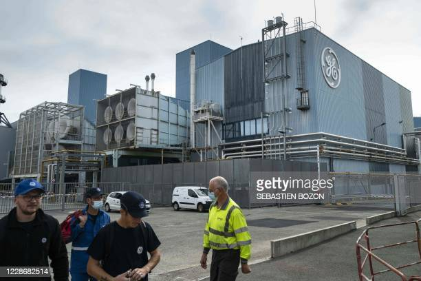 General Electric logo and buildings are pictured, in Belfort, eastern France, on September 24, 2020.