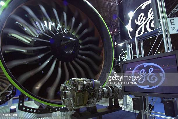 General Electric turbine for Boeing 777 is on display at the firm's booth 22 June 2001at the 44th Paris-Le Bourget Air Show, scheduled from 16 to 24...