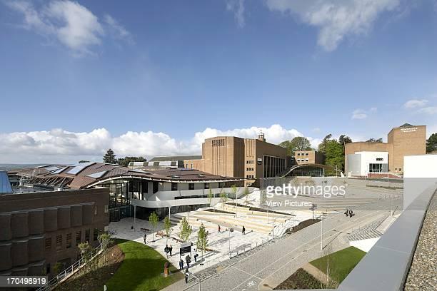 General elevation of new student hub on campus, The Forum Exeter University, Exeter, United Kingdom, Architect: Wilkinson Eyre Architects, 2012.