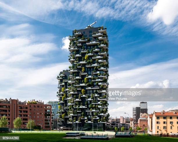 General elevation with city context Vertical Forest Milan Italy Architect Stefano Boeri Architetti 2014