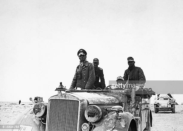General Erwin Rommel known as the Desert Fox rides through the desert between Tobruk and Sidi Omar in Libya Rommel led the Afrika Corps' 15th Panzer...