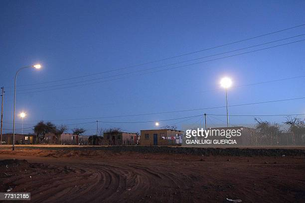 General evening view of the SAN Platfontein settlement is seen, 01 September 2007, on the outskirts of the Northern Cape town of Kimberley. In 1990,...