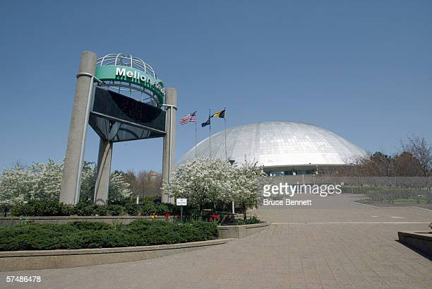 A general exterior veiw of the Mellon Arena taken before the game between the Pittsburgh Penguins and the New York Islanders on April 17 2006 at the...