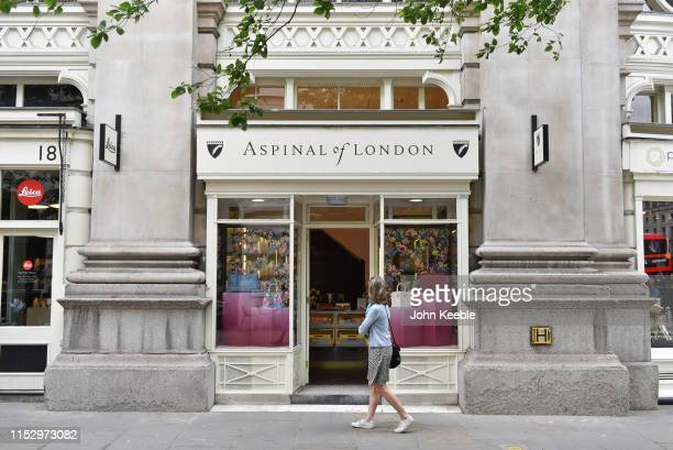 A general exterior view of an Aspinal of London store at Royal Exchange on May 31 2019 in London England Aspinal is a designer manufacturer and...