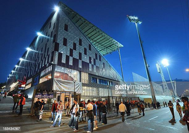 General exterior view of CFR Cluj stadium 'DrConstantin Radulescu' prior to the UEFA Champions League football match between CFR Cluj and Manchester...