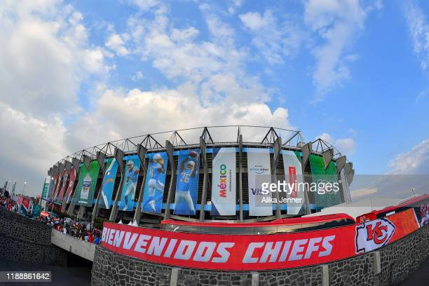 A general exterior view of Estadio Azteca before an NFL football game between the Los Angeles Chargers and the Kansas City Chiefs on Monday on...
