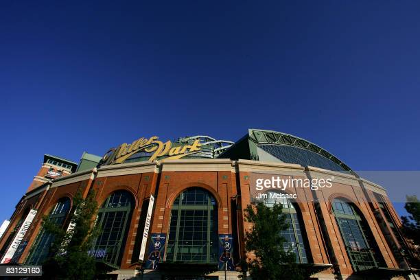General exterior view of Miller Park prior to the Milwaukee Brewers playing against the Philadelphia Phillies in Game three of the NLDS during the...