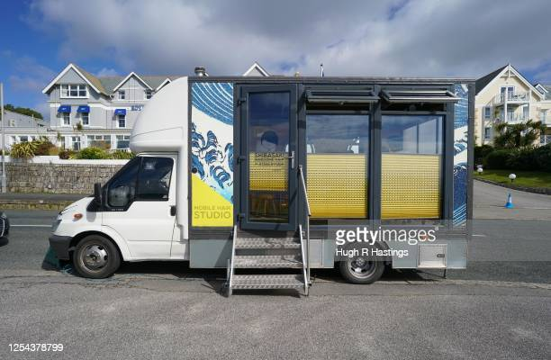 General exterior view of mobile hairdresser Masaya Shibasaki's hairdressing van as his business resumed operating on the coast road on July 5 2020 in...