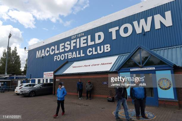 General exterior view of Moss Rose home stadium of Macclesfield Town during the Sky Bet League Two match between Macclesfield Town and Cambridge...