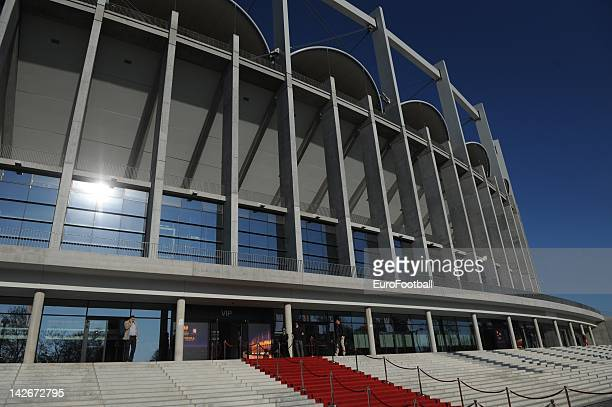 General exterior view of National Arena stadium after the UEFA Europa League trophy handover ceremony at the National Arena stadium on April 11, 2012...