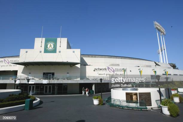 General exterior view of Network Associates Coliseum during the interleague game between the Oakland Athletics and the Montreal Expos at the Network...