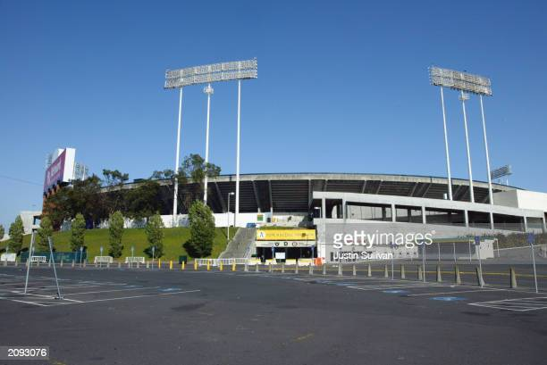 A general exterior view of Network Associates Coliseum during the interleague game between the Oakland Athletics and the Montreal Expos at the...