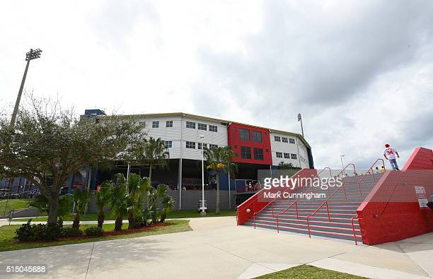 A general exterior view of Space Coast Stadium prior to the Spring Training game between the Detroit Tigers and the Washington Nationals at Space...