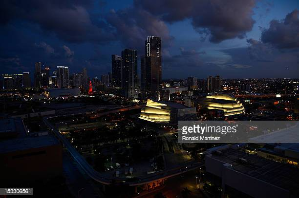A general exterior view of the Adrienne Arshct Center for the Performing Arts of Miami Dade County and the American Airlines arena prior to the Miami...