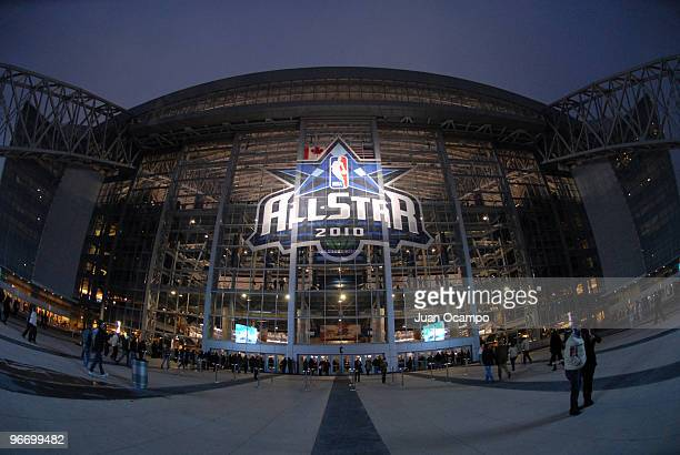 A general exterior view of the AllStar logo displayed outside Cowboys Stadium during the NBA AllStar Game as part of 2010 NBA AllStar Weekend on...