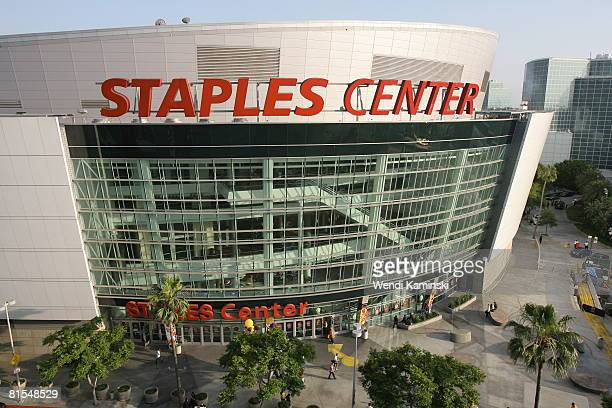 A general exterior view of the arena prior to Game Four of the 2008 NBA Finals on June 12 2008 at the Staples Center in Los Angeles California NOTE...