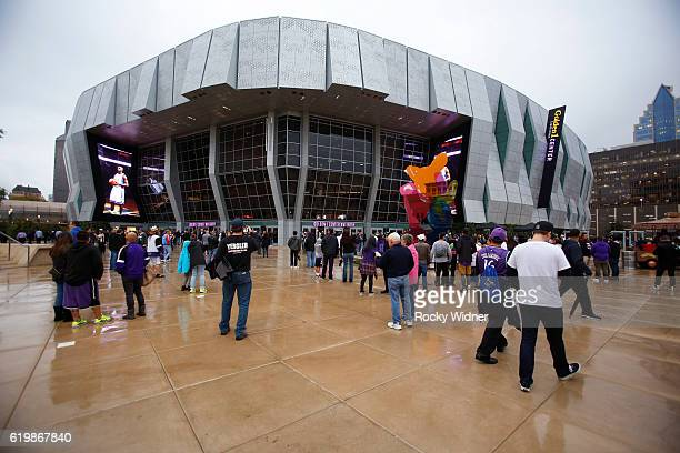 A general exterior view of the arena prior to the game beween the San Antonio Spurs and Sacramento Kings at Golden 1 Center on October 27 2016 in...