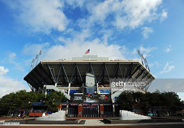 General exterior view of the Arthur Ashe Stadium is seen prior to the start of play on Day One of the 2012 US Open at USTA Billie Jean King National...