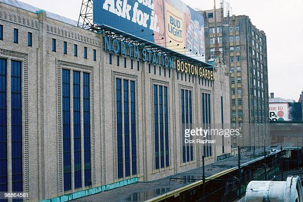 A general exterior view of the Boston Garden home of the Boston Celtics during the 1985 NBA season circa 1985 in Boston Massachusetts NOTE TO USER...