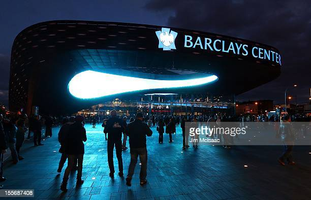 General exterior view of the fans arriving for a game between the Brooklyn Nets and the Toronto Raptors at the Barclays Center on November 3 2012 in...