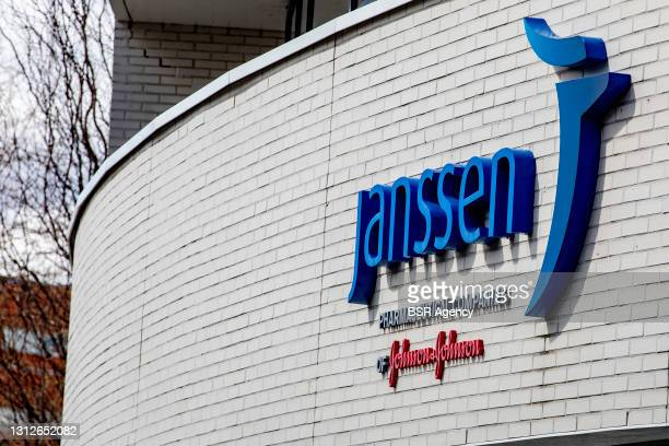 General exterior view of the head office of Janssen pharmaceutical company on April 15, 2021 in Leiden, Netherlands. The start of vaccinations in...