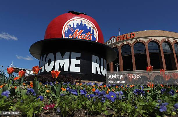 General exterior view of the Mets' Home Run Big Apple outside the stadium prior to the New York Mets hosting the Atlanta Braves during their Opening...