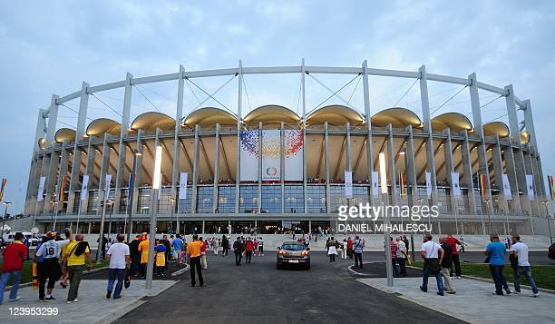General exterior view of the National Arena stadium that opened officially with Romania vs France qualifier football match for the Euro 2012 in...