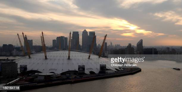 A general exterior view of the North Greenwich Arena as seen from the Emirates Air Line prior to the Women's Basketball Gold Medal game on Day 15 of...