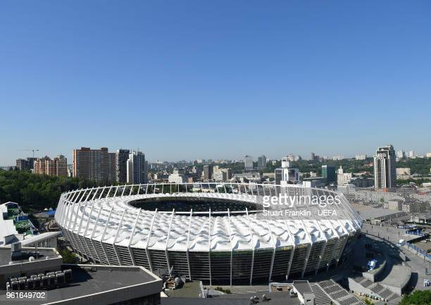 A general exterior view of the NSC Olimpiyskiy stadium prior to the UEFA Champions League final between Real Madrid and Liverpool on May 23 2018 in...