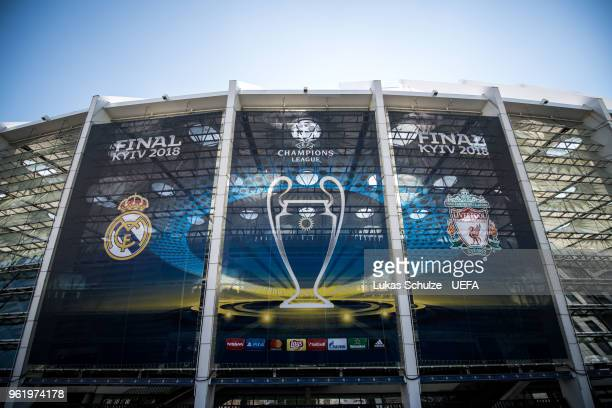 A general exterior view of the NSC Olimpiyskiy stadium prior to the UEFA Champions League final between Real Madrid and Liverpool on May 24 2018 in...