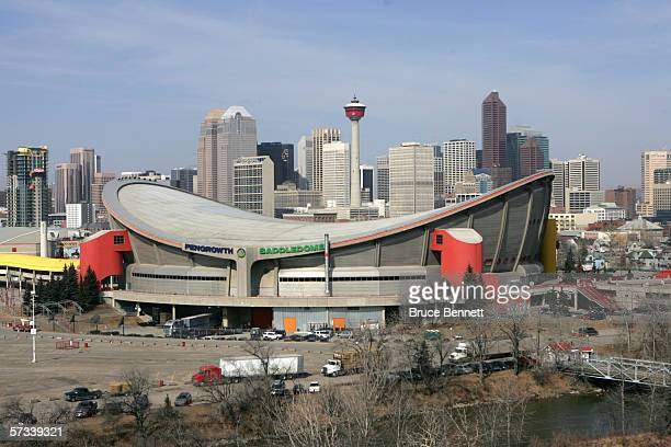 A general exterior view of the Pengrowth Saddledome taken before the game between the Los Angeles Kings of the Calgary Flames on March 29 2006 at the...
