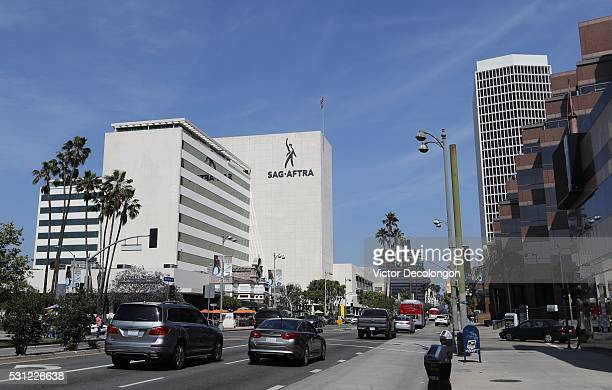 A general exterior view of the SAG/AFTRA building is seen on May 11 2016 in the Miracle Mile District of Los Angeles California