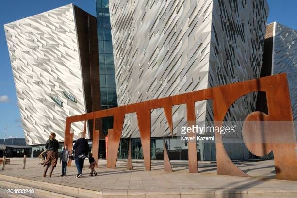 A general exterior view of the Titanic Belfast Museum on October 30 2019 in Belfast United Kingdom