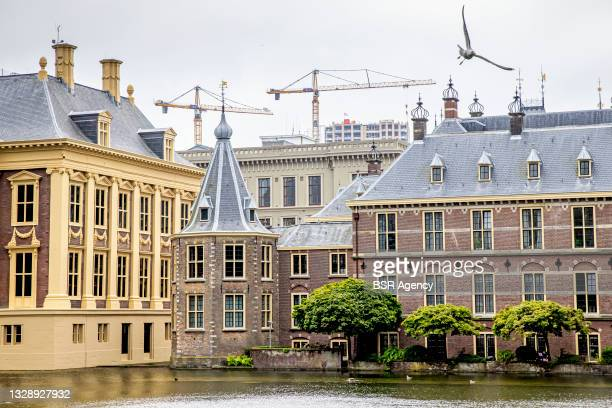 General exterior view of the Torentje presidential tower at the Binnenhof on July 15, 2021 in The Hague, Netherlands. The Binnenhof is closed due to...