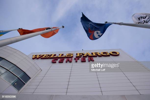 A general exterior view of the Wells Fargo Center prior to the game between the Miami Heat and Philadelphia 76ers on February 14 2018 in Philadelphia...