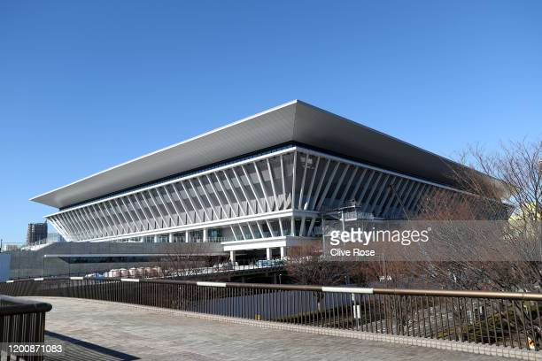 General exterior view of Tokyo Aquatics Centre, 2020 Tokyo Olympic Games venue on November 21, 2019 in Tokyo, Japan. On January 21, 2020 in Tokyo,...