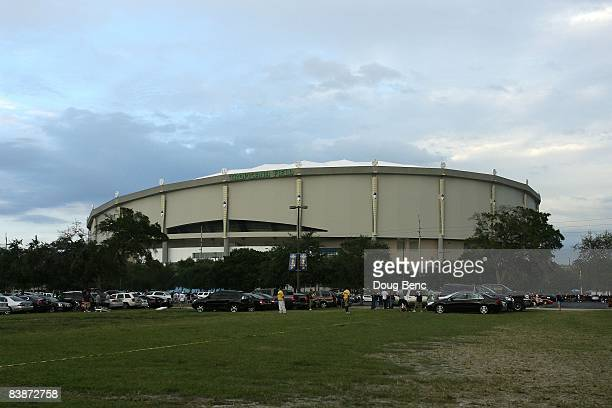 A general exterior view of Tropicana Field prior to game one of the 2008 MLB World Series between the Philadelphia Phillies and the Tampa Bay Rays on...