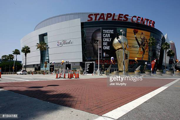 A general exterior view prior to Game Four of the 2008 NBA Finals between the Boston Celtics and Los Angeles Lakers on June 12 2008 at the Staples...