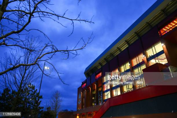 A general external view of Anfield the home stadium of Liverpool at dusk prior to the UEFA Champions League Round of 16 First Leg match between...