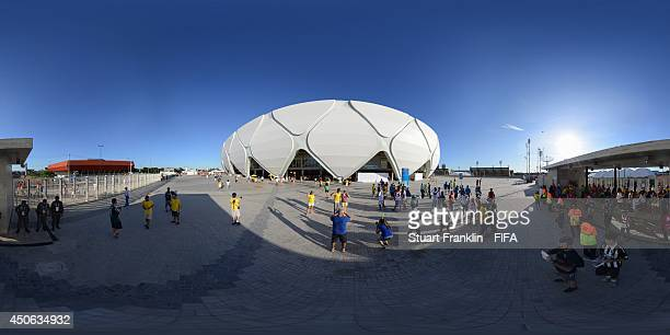 A general external view of the stadium before the 2014 FIFA World Cup Brazil Group D match between England v Italy at Arena Amazonia on June 14 2014...