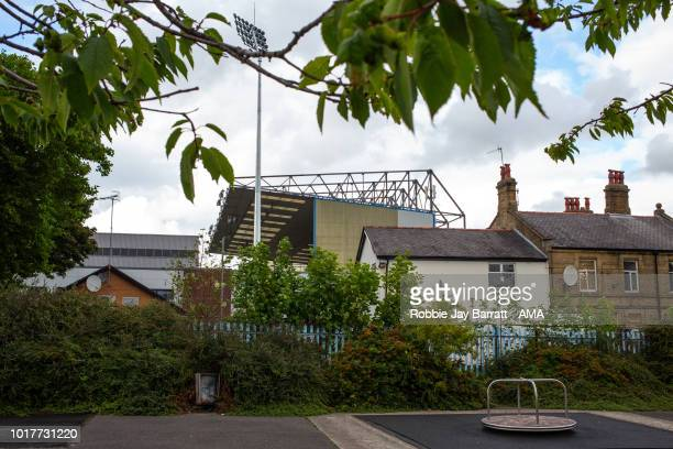 A general external view of Turf Moor the home stadium of Burnley prior to the UEFA Europa League Third Round Qualifier Second Leg metch between...