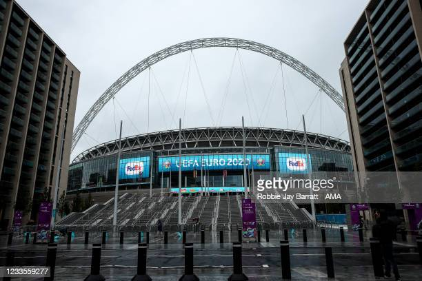 General external view of Wembley Stadium with Euro 2020 branding during the UEFA Euro 2020 Championship Group D match between England and Scotland at...