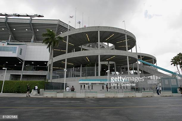 General external views of Pro Player Stadium on July 4, 2004 in Miami, Florida.