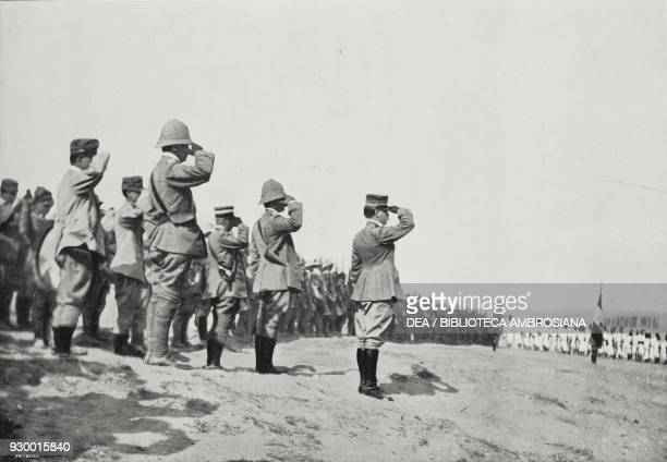 General Ezio Reisoli and his troops paying tribute to the soldiers who fell on September 17 1912 in CasrelLeben Derna Libya ItalianTurkish war...