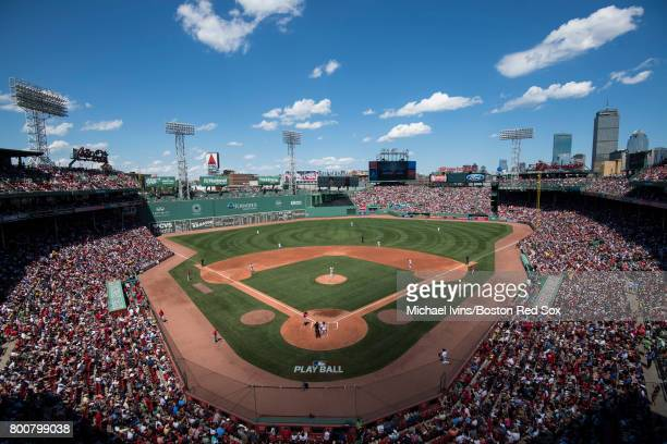 General field view during a game between the Boston Red Sox and the Los Angeles Angles of Anaheim in the second inning at Fenway Park on June 25 2017...