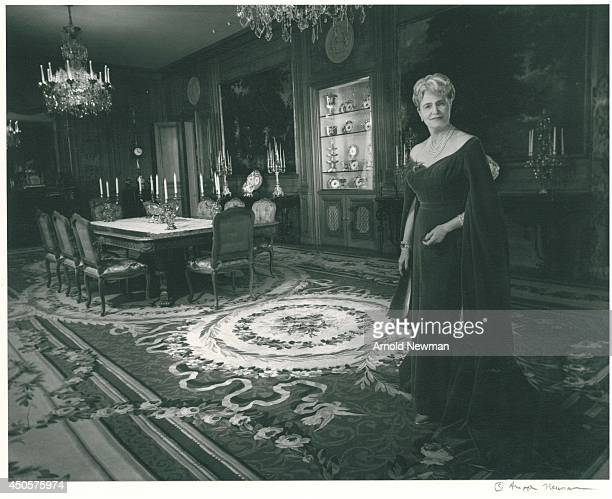 General Foods founder Marjorie Merriweather Post poses for a portrait session at her home Hillwood in circa 1950 in Washington DC