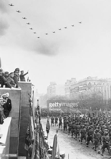 General Francisco Franco arm outstretched salutes troops in Madrid victory parade Spain's tragic and bloody civil war ended as General Francisco...