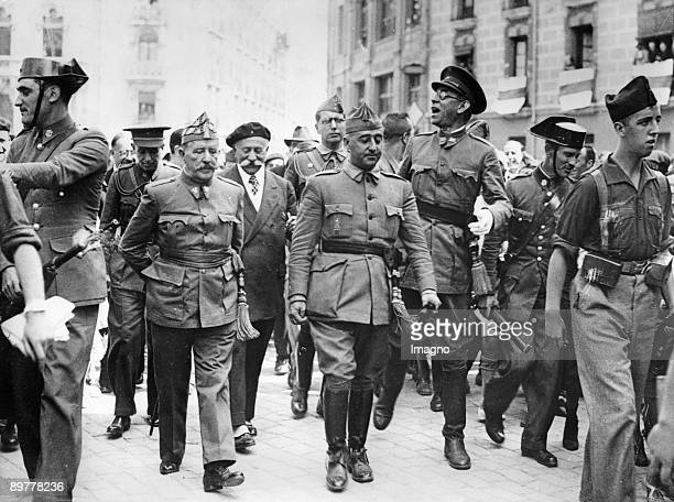 General Francisco Franco commander in the south is visiting the headquater of the Northern Front in Burgos Fltr General Cavalcanti General Francisco...